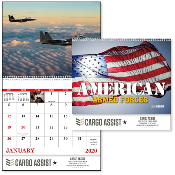 Spiral American Armed Forces 2020 Calendar