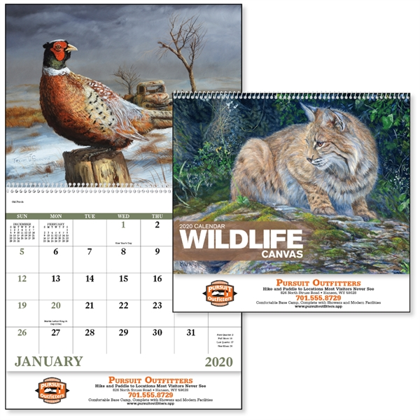 Spiral Wildlife Canvas 2020 Appointment Calendar