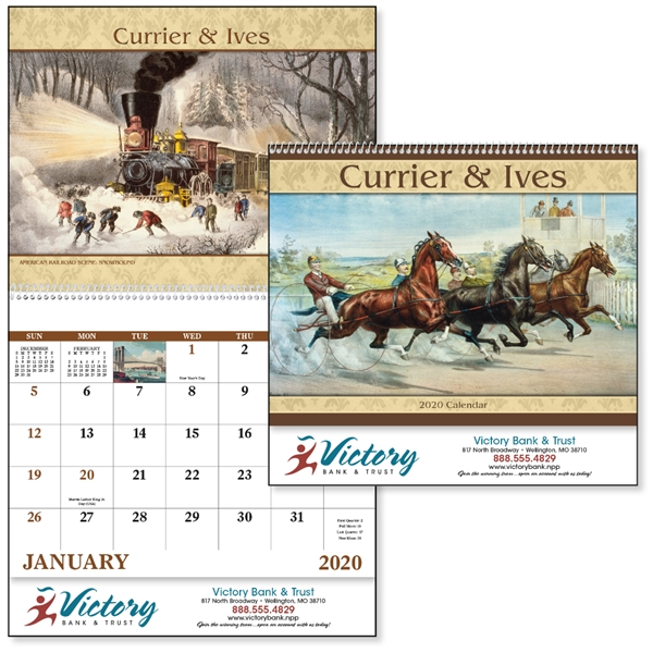 Spiral Currier & Ives Americana 2020 Appointment Calendar