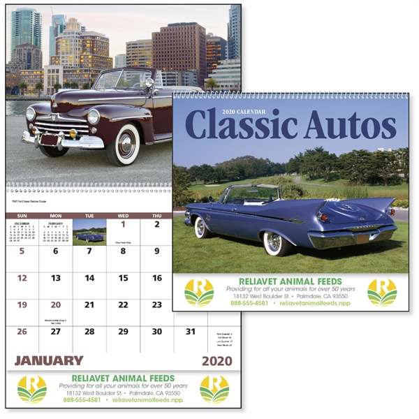 Spiral Classic Autos Vehicle 2020 Appointment Calendar