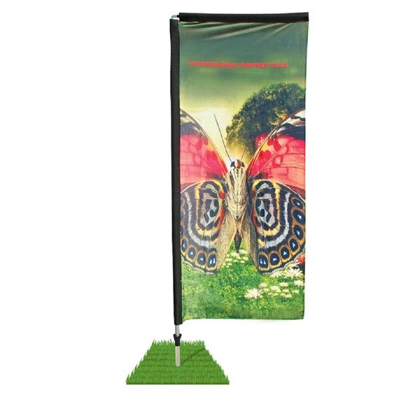 7' Double Sided Rectangle Wind Flag Kit / Spike Base