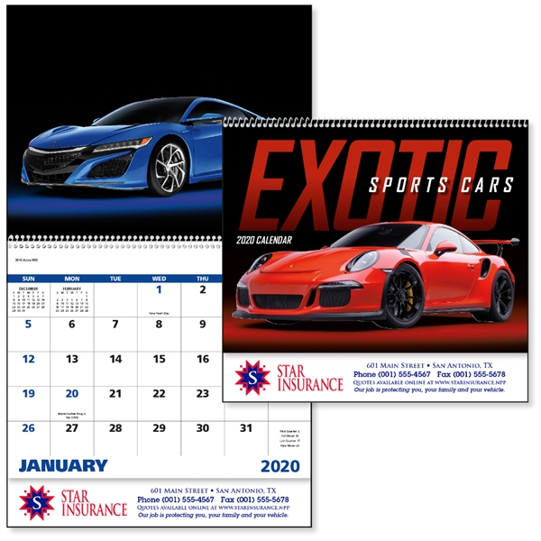 Spiral Exotic Sports Cars Vehicle 2020 Appointment Calendar