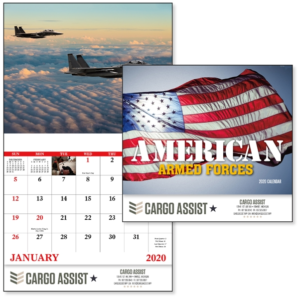 Stapled American Armed Forces 2020 Calendar