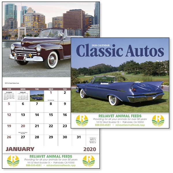 Stapled Classic Autos Vehicle 2020 Appointment Calendar