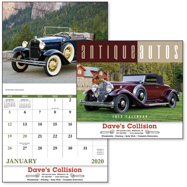 Stapled Antique Autos Vehicle 2020 Appointment Calendar