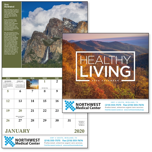 Stapled Healthy Living Inspirational 2020 Calendar