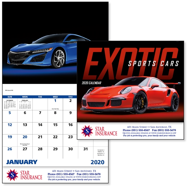 Stapled Exotic Sports Cars Vehicle 2020 Appointment Calendar