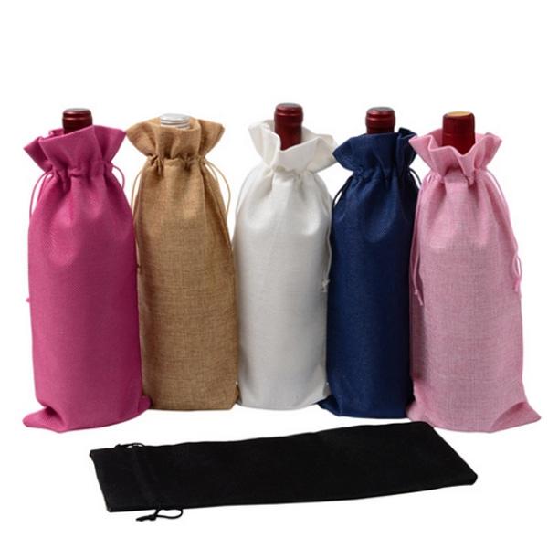 Burlap Wine Tote Bag