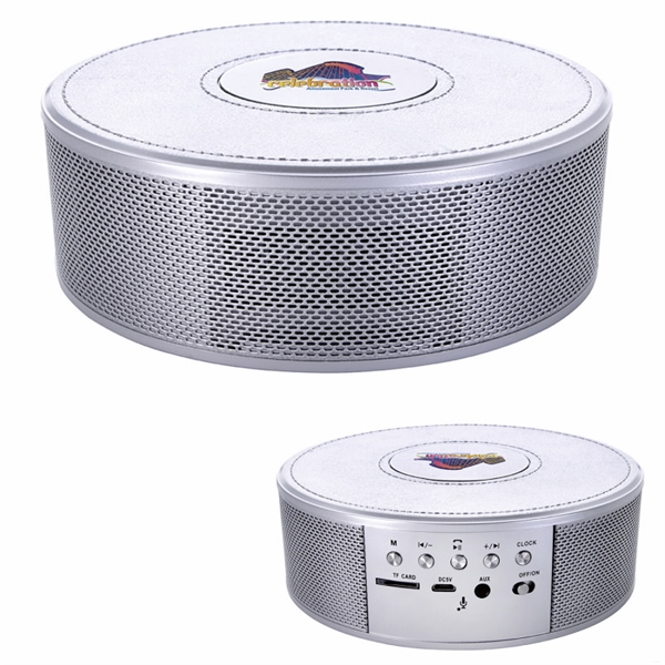 Metallic Finish Wireless Charging Clock Speaker