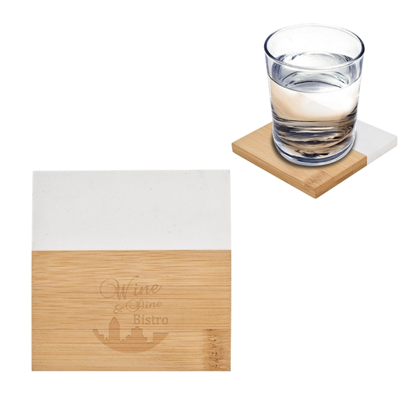 Marble And Bamboo Coaster