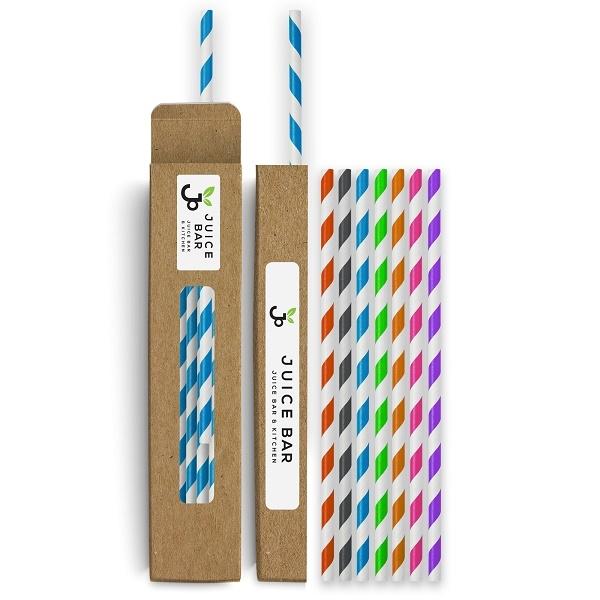 25 Colored Paper Straws In Box