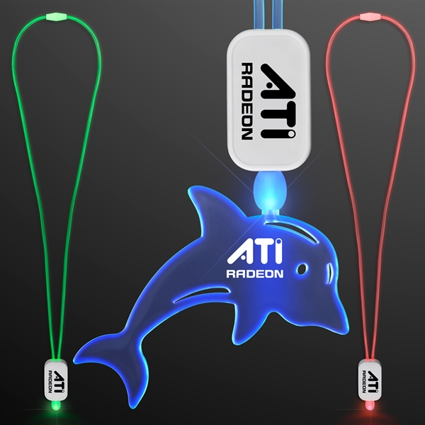 LED Lanyards with Acrylic Dolphin Pendan