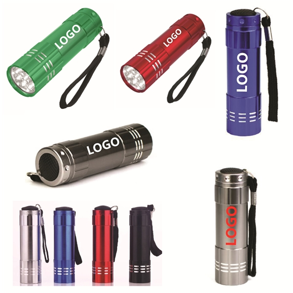 High Quality 9 LED Flashlight with Strap