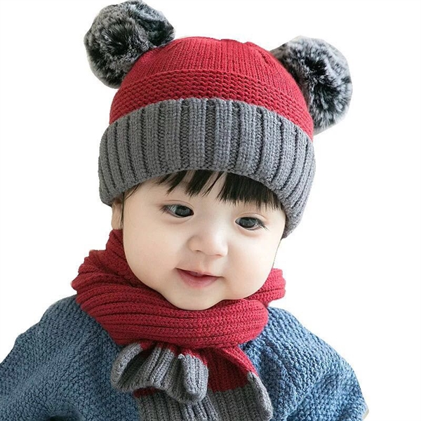 Baby Double ball knit hat and scarf suit