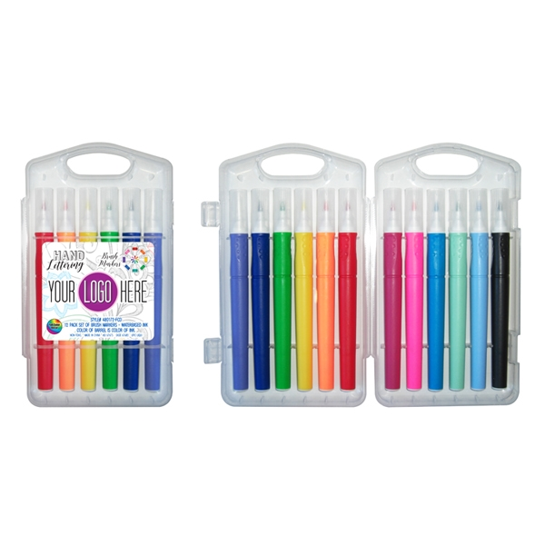 12 Pack of Hand Lettering Brush Markers in Hard Plastic Case