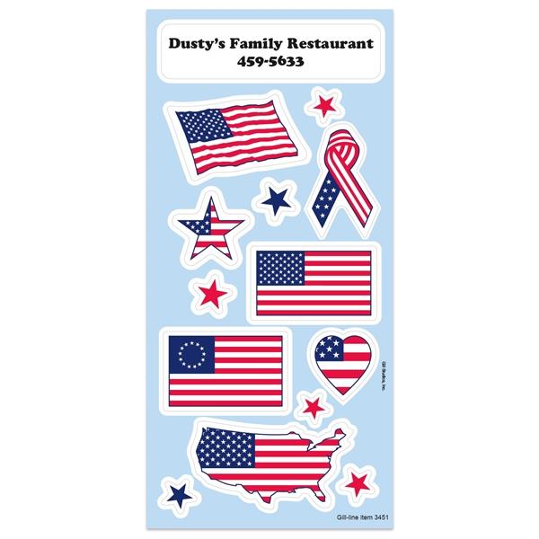 Patriotic Sticker Sheet w/ Flags