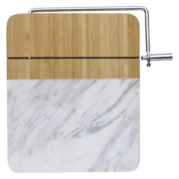 Marble and Bamboo Cheese Cutting Board With Slicer
