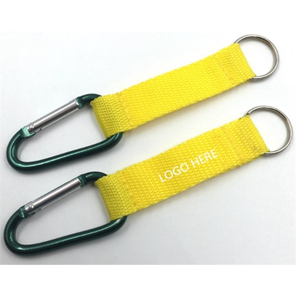 Carabiner keychain with polyester strap