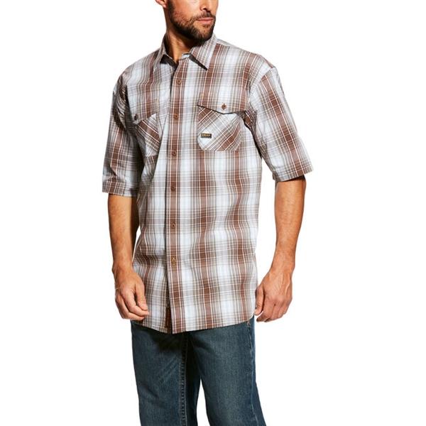 Men's Rebar Made Tough Plaid Work Shirt - Short Sleeve
