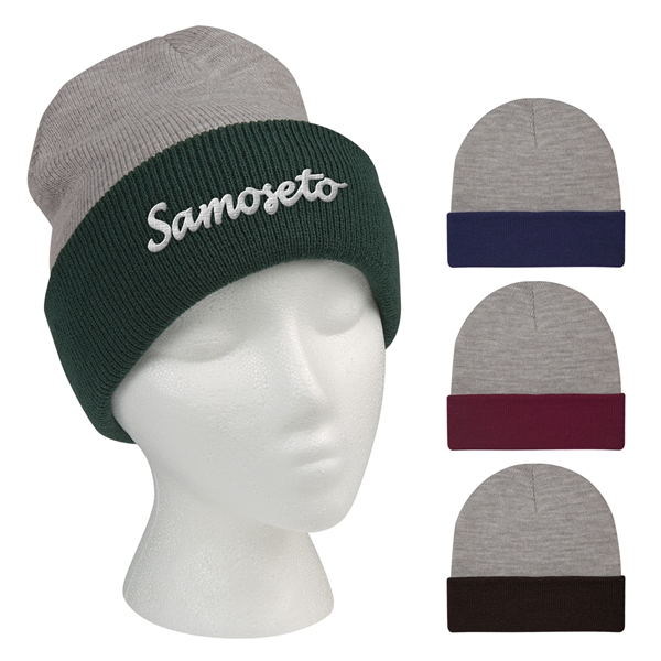 Two-Tone Knit Beanie With Cuff