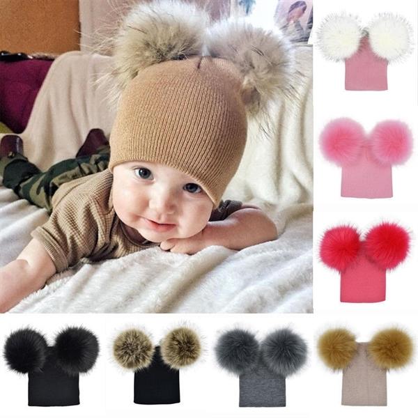 Toddler Double Pom Pom Beanie Hat