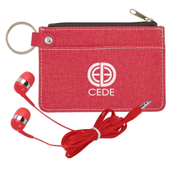 Heathered Wallet & Earbuds Kit