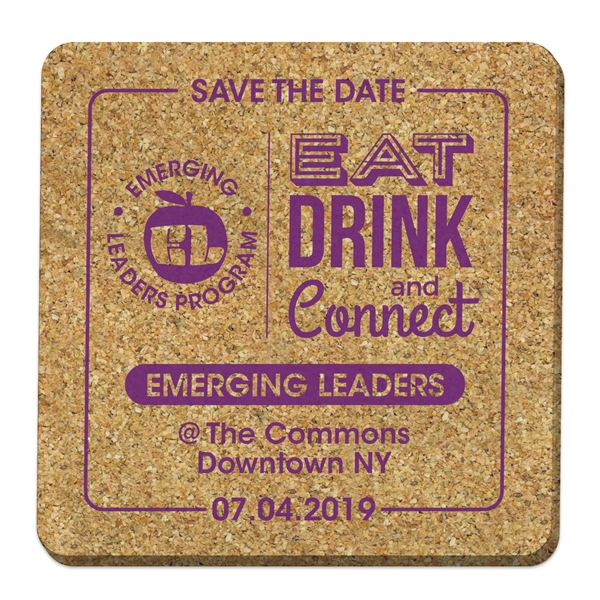"Square Cork Coaster - 4"" x 4"""