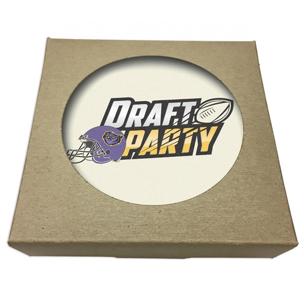 Set of 2 Round Absorbent Stone Coasters w/ Natural Kraft Box
