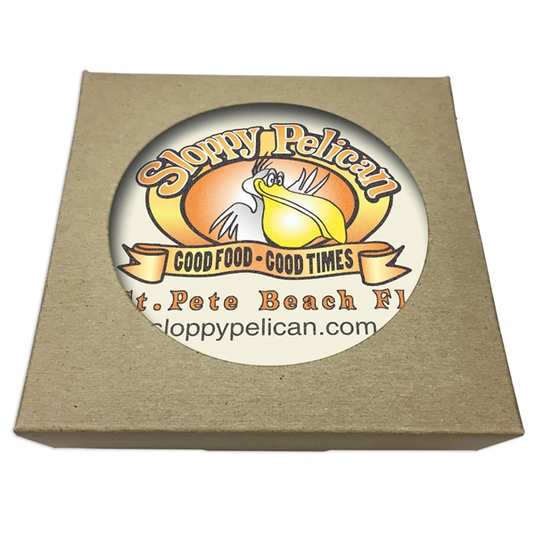 "Round Absorbent Stone Coaster w/ Natural Kraft Box (4"" dia.)"