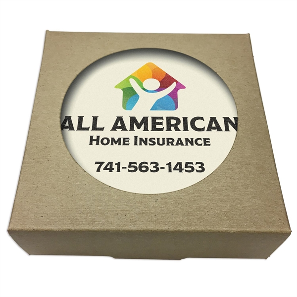 Set of 4 Square Absorbent Stone Coasters w/ Natural Kraft