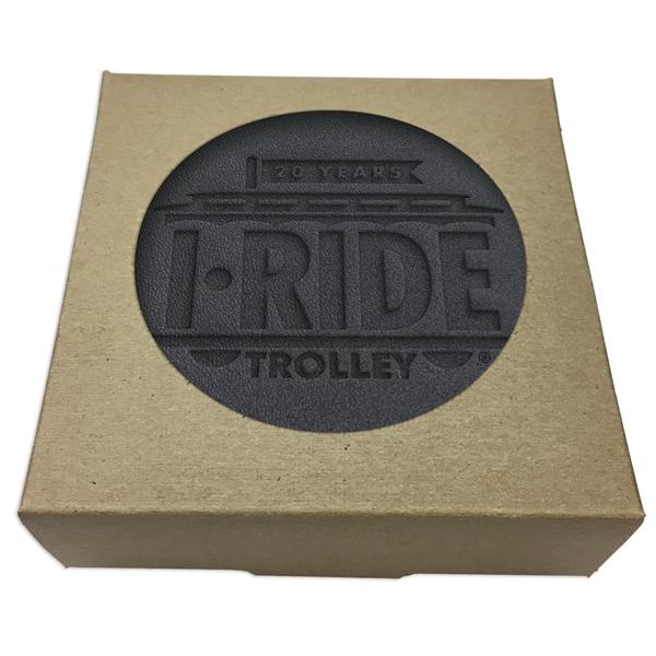 Set of 4 Black Leather Coasters w/ Natural Kraft Box