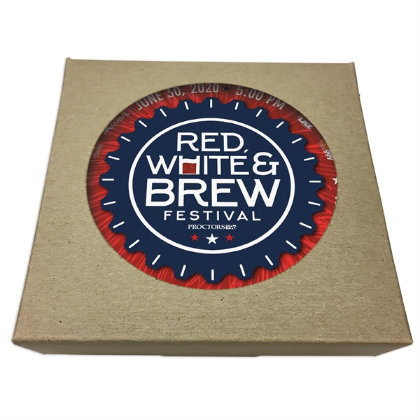 Set of 6 Round Paperboard Coasters w/ Natural Kraft Box