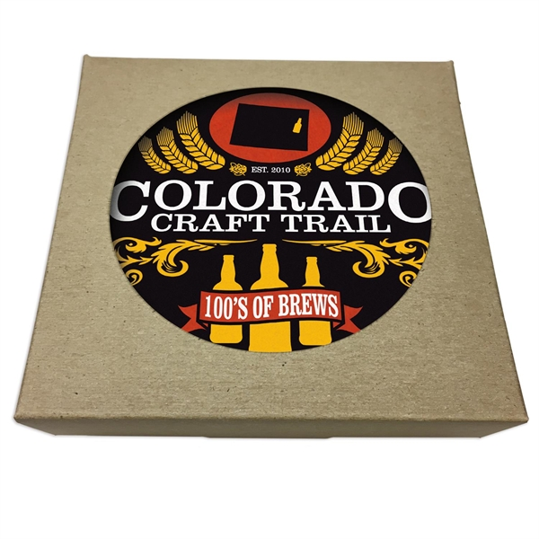 Set of 6 Square Paperboard Coasters w/ Natural Kraft Box