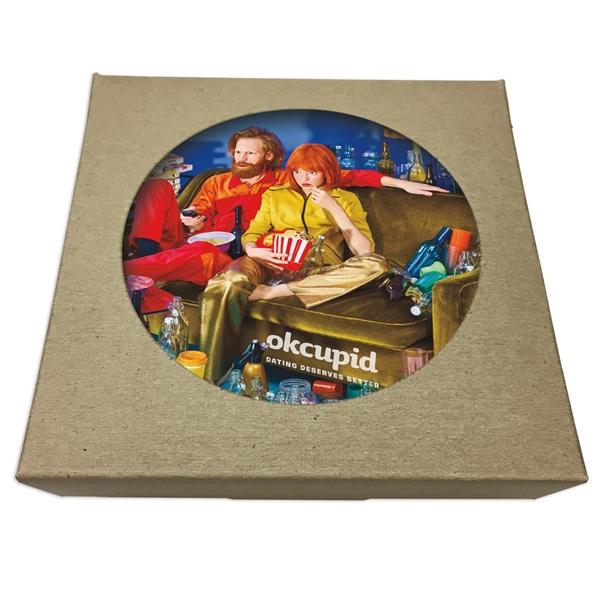 Set of 4 Square Paperboard Coasters w/ Natural Kraft Box