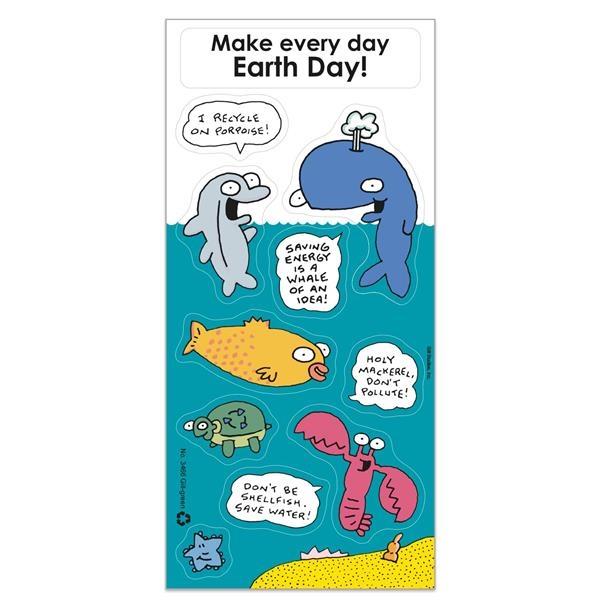 Recycled Paper Environmental Sticker Sheet w/ Cartoon Sea