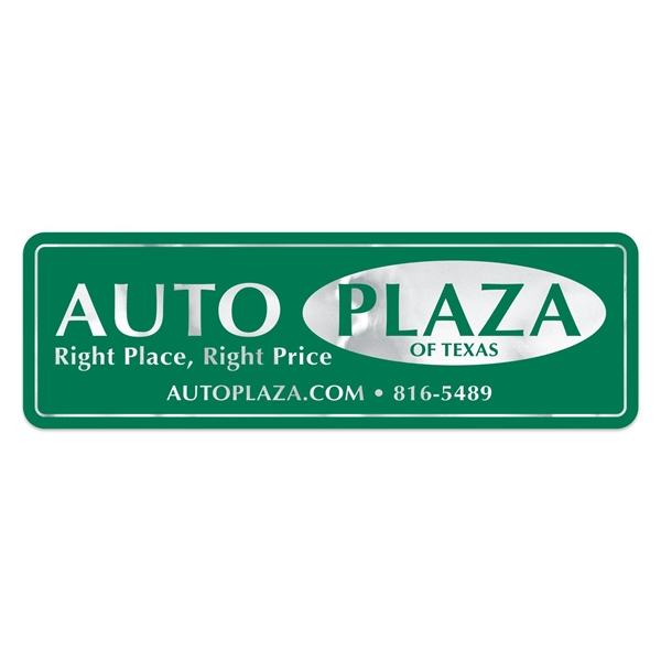 Stock Pointed Rectangle Chrome Polyester Car-Cals Decal (1