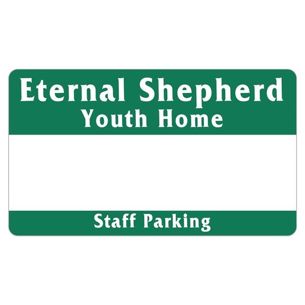 Rectangle White Vinyl Numbered Outside Parking Permit Decal