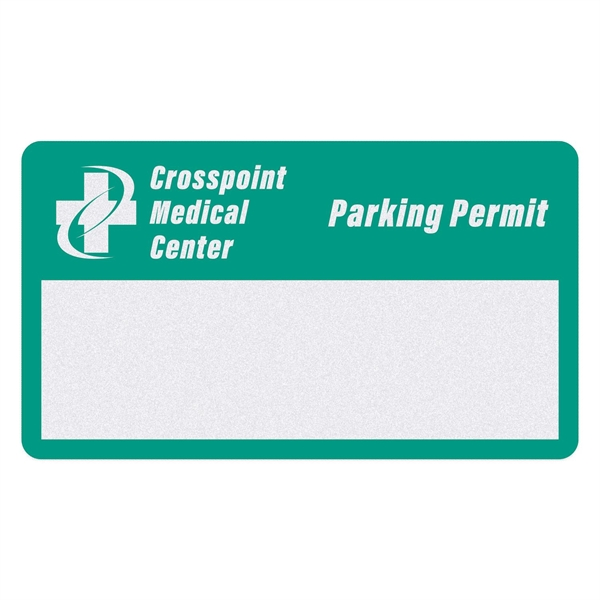 Rectangle White Reflective Numbered Outside Parking Permit