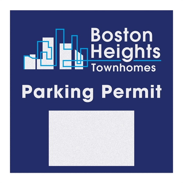 Square White Reflective Numbered Outside Parking Permit