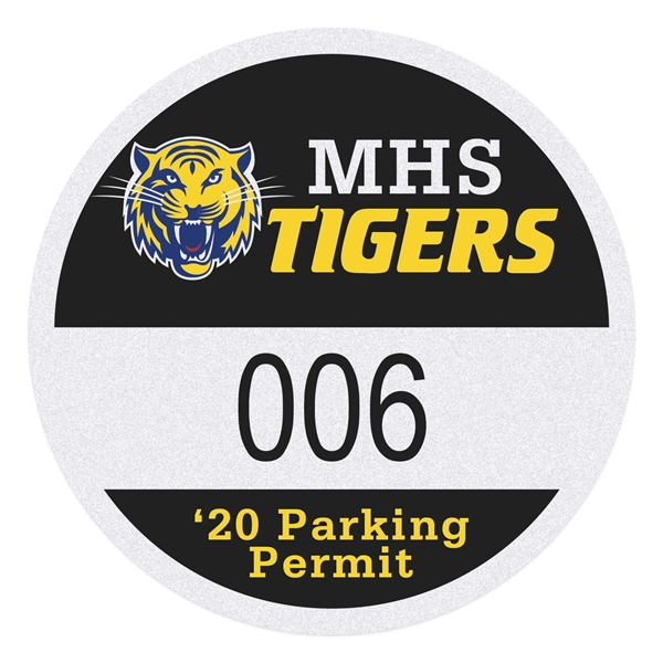 Round White Reflective Numbered Outside Parking Permit