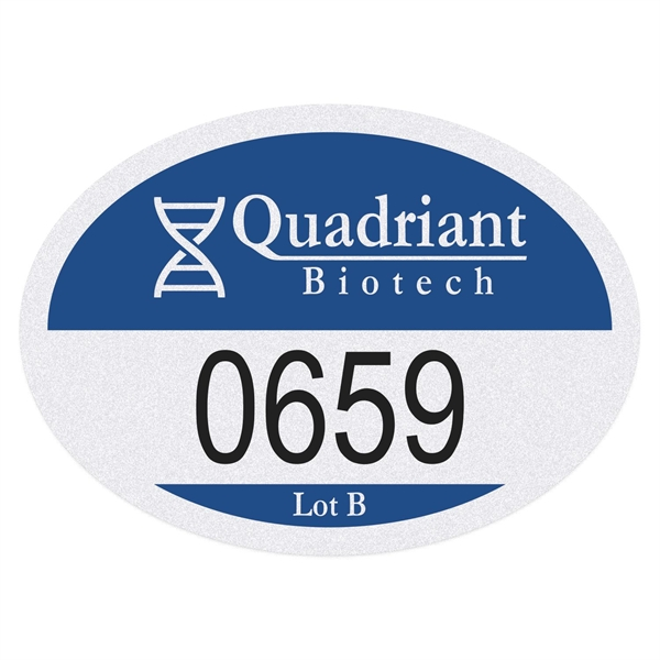Oval White Reflective Numbered Outside Parking Permit Decal