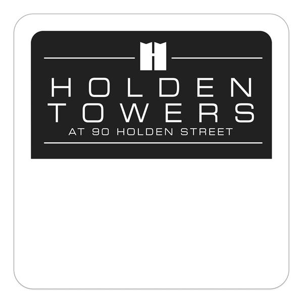 Square White Vinyl Numbered Outside Parking Permit Decal (1