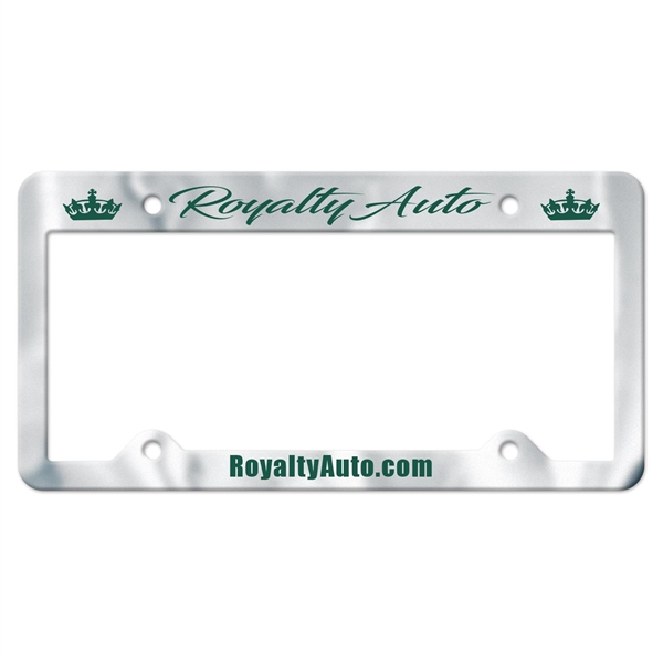 Chrome Faced Auto License Frame w/ 4 Holes & Large Top Panel
