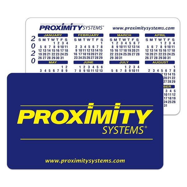 White Vinyl Plastic Horizontal Calendar Card w/ Open Blocks