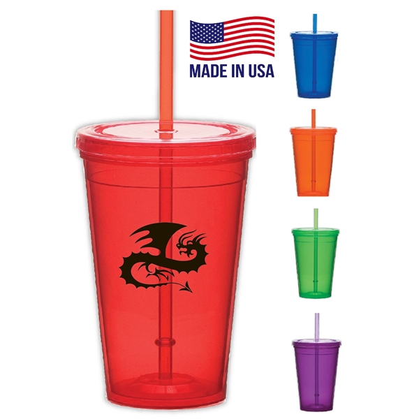 Tumbler with lid and Straw, USA made 16 oz double wall
