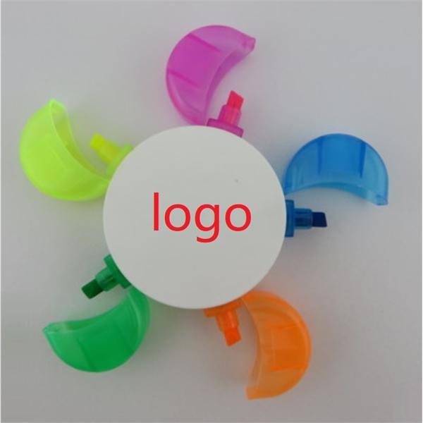 High Quality flower shape 5 color highlighter