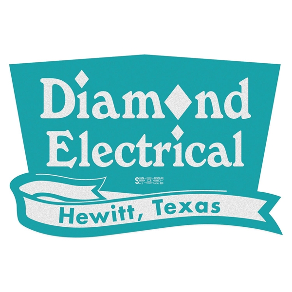 Trapezoid w/ Banner White Reflective Hard Hat Decal
