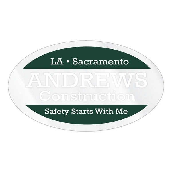 """Oval Clear Vinyl Hard Hat Decal (1 3/4""""x3"""")"""
