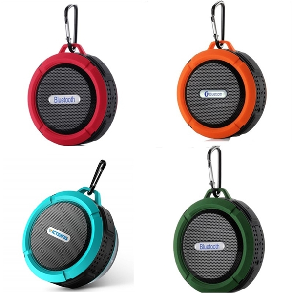 Wireless Waterproof Speaker with 5W Driver, Suction Cup, Bui