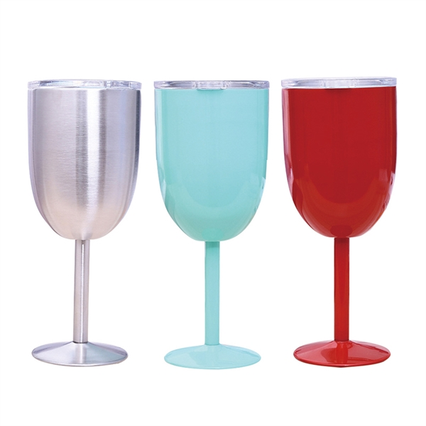 10oz Stainless Steel Double Wall Insulated Goblet with Lip